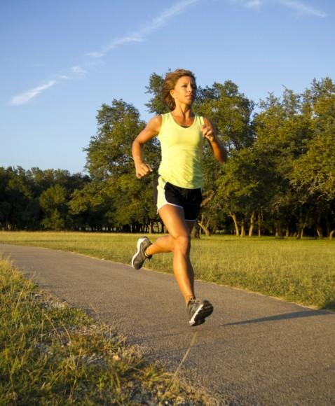 Woman Jogging in Park, Motion Blur